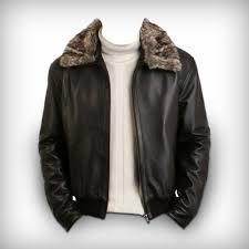 men pilot jacket with sheepskin fur collar