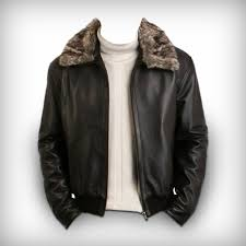 men pilot jacket with sheepskin fur collar