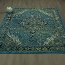 cit3176 city faded oriental medallion blue green area rug 5x7
