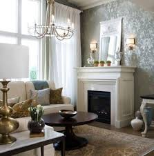 chic living rooms with damask wallpaper