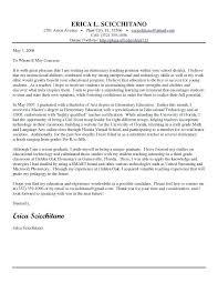Elementary Teacher Resume Cover Letter Teacher Cover Letter Example