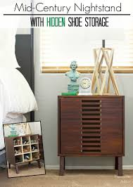 Mid-century modern nightstand with shoe storage building plans