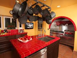 Mexican Style Kitchen Design Mexican Kitchen Designed With Orange Wall Colors And Red Ceramic