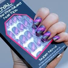 Royal Barevné Růžové šedé A Fialové Samolepící Umělé Nehty Petite Pre Glued Nail Tips Super Nova 24ks