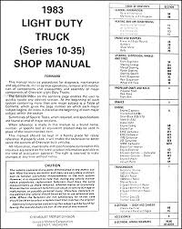 1983 chevrolet truck repair shop manual original pickup blazer table of contents