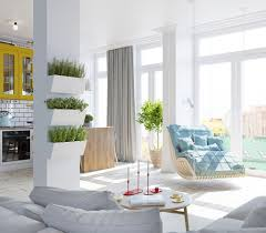 Light And Bright Living Room Teal Hanging Chair Mustard Cabinetry White  Wooden Floors