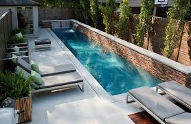 Square Long Pool Ideas For Outdoor Patio With Modern Chairs