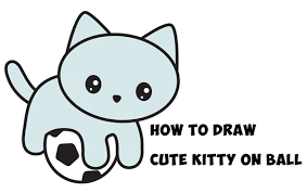 easy animals to draw step by step. Wonderful Step How To Draw A Cute Kitten Playing On Soccer Ball Easy Step By Drawing  Tutorial For Kids To Animals By W