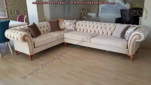 l shaped classic chesterfield sofa