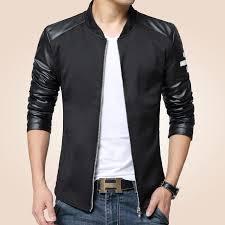 whole er jacket men patchwork faux leather sleeve pilot style male jacket baseball men coat fashion style man windbreaker jackets jackets coats mens