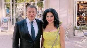 """رانيا يوسف مع رئيس نادي برشلونة.. """"أجمد واحد بالعالم"""""""