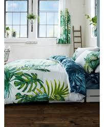 botanical palm leaves king size duvet