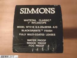 simmons whitetail classic 6 5 20x50. for sale: simmons whitetail classic 6.5-20x50 ao rifle scope. 1 inch tube, plex reticle, fully multi-coated optics, adjustable objective lens, black granite 6 5 20x50 c