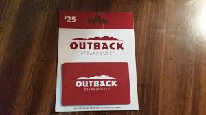 25 outback steakhouse or 3 other restaurants gift card