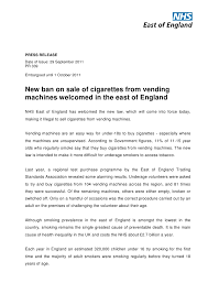 Ban On Cigarette Vending Machines Awesome Press Release Ban On Cigarette Vending Machines