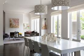 magnificent drum pendant lighting in dining room contemporary with high end contemporary furniture brands next to oak floors with dark stain alongside end
