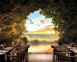 Beibehang Moderne Mode Cave Buiten De Zee Strand 3d Foto Behang