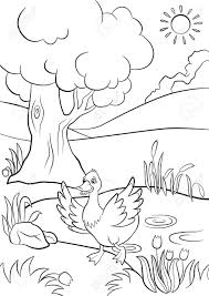 Small Picture Coloring Pages Cute Duck Runs From The Pond There Are Tree