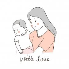 Draw Mother Carring Baby With Love Vector Premium Download
