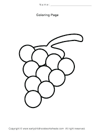 Grapes Coloring Page Pages To Print Grape Leaf Preschool Gr