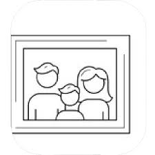 family photo frame vector line icon isolated on white background kid and pas on family