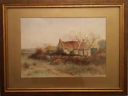enchanting watercolour painting of a country farmhouse with artists initials