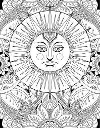 Art Doodle Sun Goddess Doodle Art Adult Coloring Page