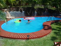 ... Above Ground Pool Deck Ideas Pictures : Attractive Swimming Pool Design  With Nice Shape Combine With ...