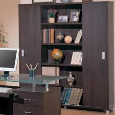 office sliding door. Decarie Home Office Sliding Door Bookcase In Rich Dark Finish By Coaster - 800203