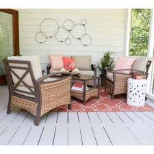 thompson 4piece wicker patio conversation set with tan cushions farmhouse patio furniture s19