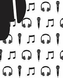 Behang Muziek Met Microfoon En Koptelefoon Zwart Wit Tinklecherry