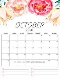 Free Printable Calendar 2020 In Pretty Florals With Notes