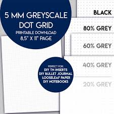 Greyscale 5 Mm Dot Grid Paper Printable Us Letter Size Grey Etsy
