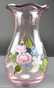 Creative Idea:Cool Vase Glass Painting On Blue Tiles Flooring Beautiful Art  Hand Painted Floral