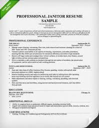 Janitorial Maintenance Resume Sample