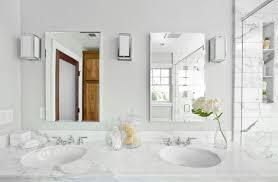 white bathroom vanity mirrors. Fine White Monochromatic White Bathroom Set With Rectangular Vanity Mirrors Between  Small Beam Wall Lamps Decor Inside White Bathroom Vanity Mirrors