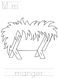 Printable Manger Coloring Page Kids Crafts Nativity Coloring