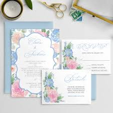 Light Blue Wedding Invitations Blush And Light Blue Floral With Ornate Frame Wedding Invitation Digital Download Cz Invitations