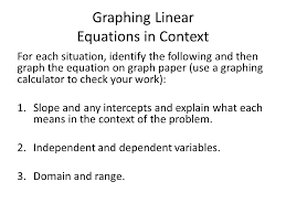 graphing linear equations in context