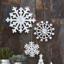 original set of three large wooden snowflakes