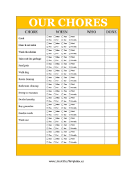 Chore List For Families Yellow Family Chore Chart