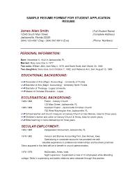 Students Resume Sample Resume Sample For Student Full Block Resume Format Style For 14