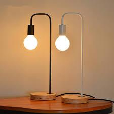 nordic wood iron table lamp bedroom modern led desk light study shadeless table lamps