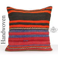 Kilim Cushion Cover 24x24 Square Hand Woven Throw Pillow