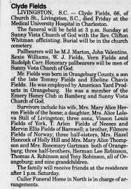 Obituary for Clyde Fields (Aged 66) - Newspapers.com