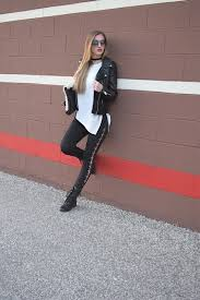wearing blank nyc easy rider faux leather jacket express lace up leggings little liffner