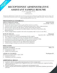 Executive Assistant Resume Examples Extraordinary Resume Sample Receptionist Administrativelawjudge