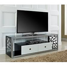 beautiful  mosaic tv stand brushed silver frame with white