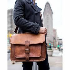 vintage brown leather shoulder messenger bag
