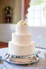 White Wedding Cake With Lace Pattern Brides